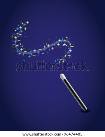 Magic wand with a trail of stars. - stock vector