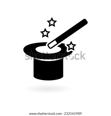magic wand with hat - stock vector