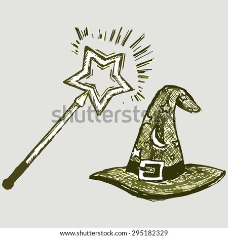 Magic wand wizard with cap. Vector Image - stock vector