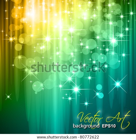 Magic Waterfall of lights for Suggestive Flyers with glow effect and cristal stars.  Ideal for Christmas or Festive Backgrounds - stock vector