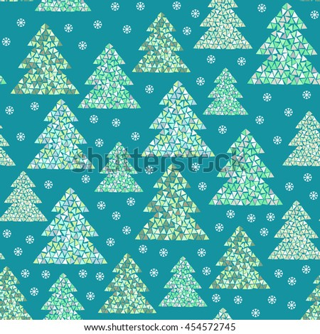 Magic winter seamless pattern of colorful mosaic fir trees and snowflakes. Geometric Happy New Year and Christmas design. Northern wood vector illustration. - stock vector