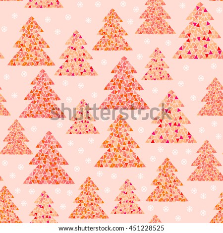 Magic winter seamless pattern of colorful mosaic fir trees and snowflakes in warm colors. Simple geometric Happy New Year and Christmas background. Northern wood vector illustration. - stock vector
