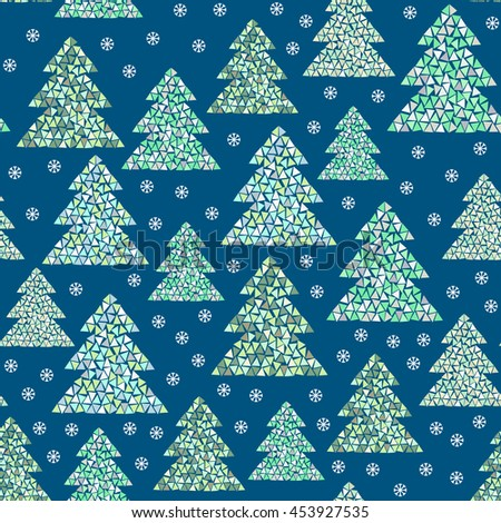 Magic winter seamless pattern of colorful mosaic fir trees and snowflakes on blue background. Geometric Happy New Year and Christmas design. Northern wood vector illustration. - stock vector