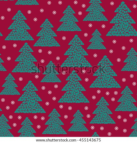 Magic winter seamless pattern of green mosaic fir trees and snowflakes. Simple geometric Happy New Year and Christmas design. Northern wood vector illustration on red background. Holiday colors. - stock vector