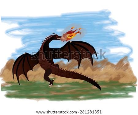Magical dragon flying, vector illustration - stock vector