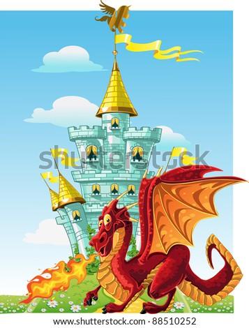 magical fairytale red Dragon near the blue magic castle - stock vector