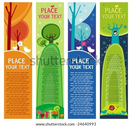 Magical forest banners.  To see similar, please VISIT MY GALLERY.   - stock vector