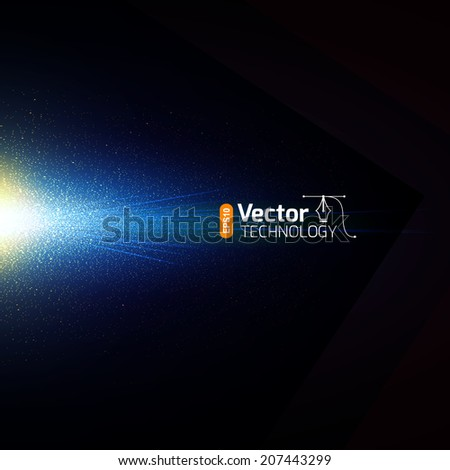 Magical glow on a black background - stock vector