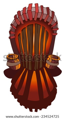 Magical Wooden Door with Barrels beside, Mystical Light shining through the cracks, Vector Illustration isolated on White Background.  - stock vector