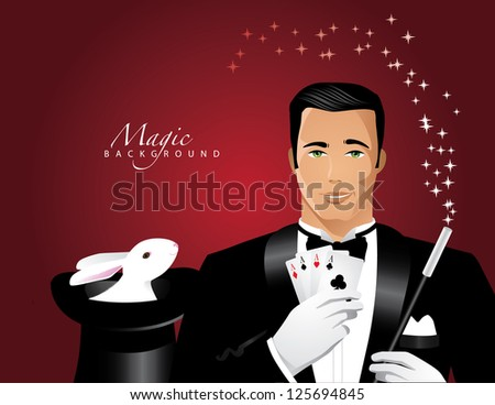 Magician and Magic Hat Background EPS 8 vector, no open shapes or paths, grouped for easy editing. - stock vector