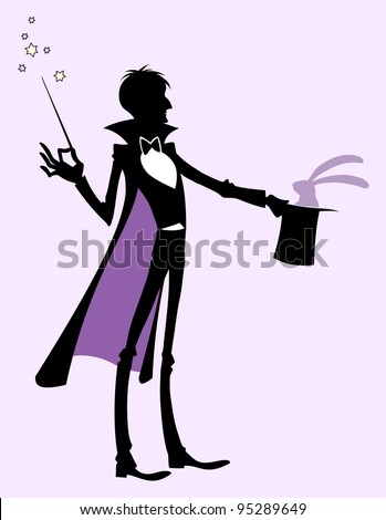 Magician and rabbit - stock vector
