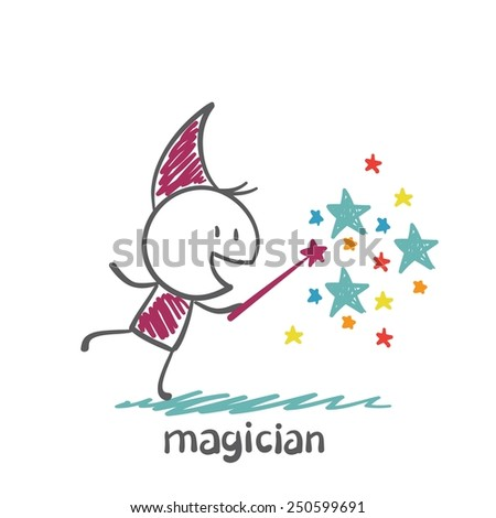 magician conjured stars illustration - stock vector