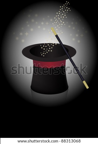 Magician Hat, Wand and Stars in Beam of Light