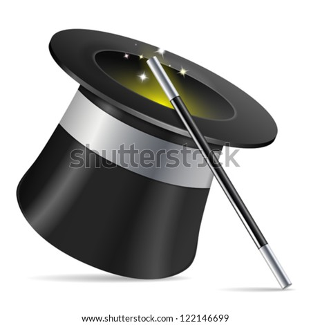Magician Hat with Magician Wand, icon isolated on white background, vector illustration - stock vector
