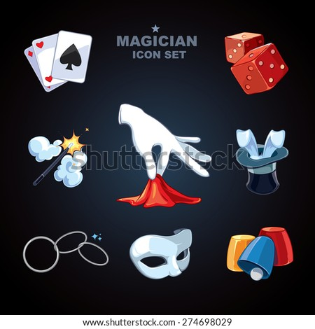 magician icons pack - stock vector