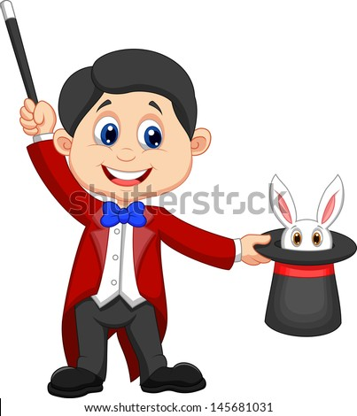 Magician pulling out a rabbit from his top hat - stock vector
