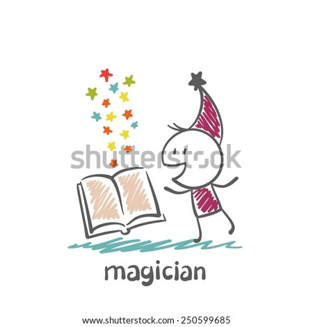 magician  reads the book illustration - stock vector