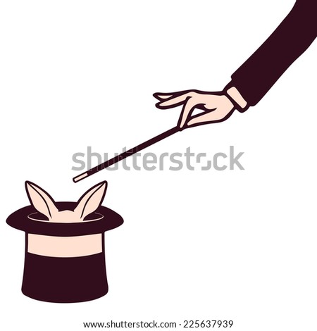 Magician's hand performing a magic trick on white rabbit in cylinder - stock vector