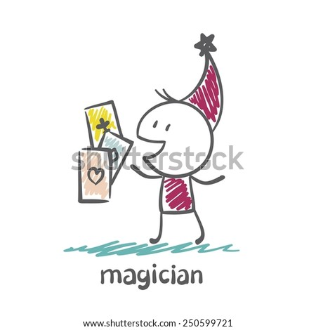 magician shows magic cards illustration  - stock vector