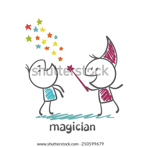 magician shows the tricks people illustration - stock vector