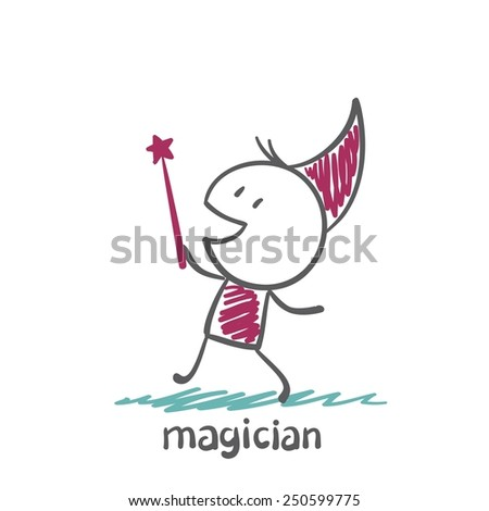 magician with a stick illustration - stock vector