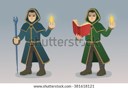 Magician With Magic Wand and Book - stock vector