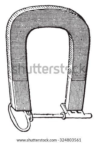 Magnet, vintage engraved illustration. Dictionary of words and things - Larive and Fleury - 1895. - stock vector
