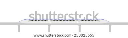 magnetic levitation train - stock vector