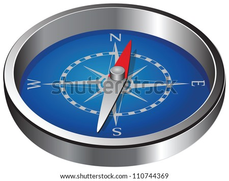 Magnetic navigation equipment - a compass. Windrose. Vector illustration. - stock vector