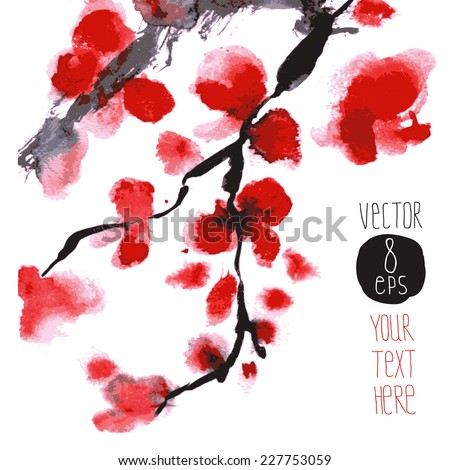magnificent blossoming branch. vector blooming flowers. japanese cherry, sakura pink and red flowers. bunch isolated background.   - stock vector