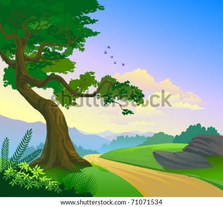 Magnificent Country Road and a lonely tree - stock vector