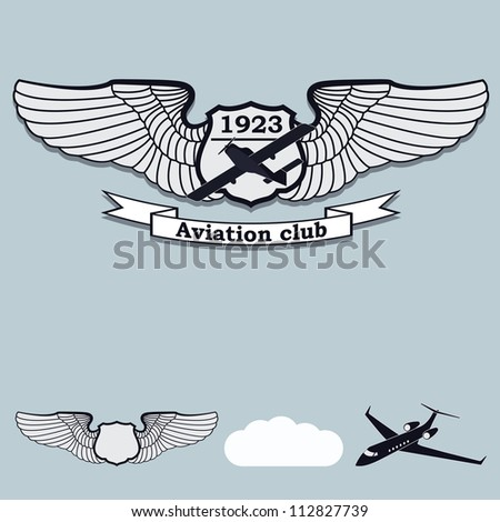 Magnificent set of labels for aviation - stock vector