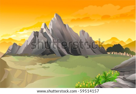 Magnificent western rocky mountain panorama with golden sky - stock vector