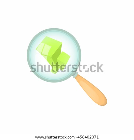 Magnifier and statistics icon in cartoon style isolated on white background. Information symbol - stock vector