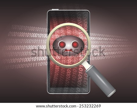 Magnifier and virus data in phone - stock vector