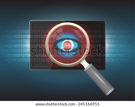 Magnifier and virus data in tablet. - stock vector