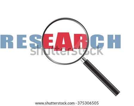 Magnifier Concept with Research word, Vector Illustration EPS 10.