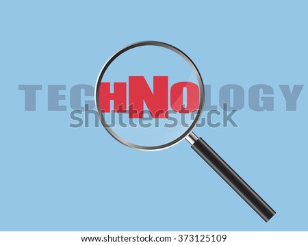 Magnifier Concept with Technology word, Vector Illustration EPS 10.
