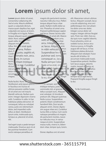 Magnifier Concept with text document, Vector Illustration EPS 10. - stock vector