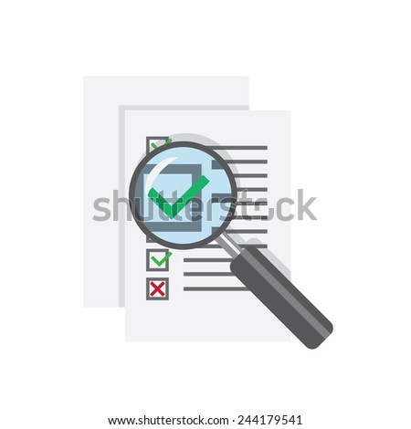 magnifier glass over questionnaire with right answer  - stock vector