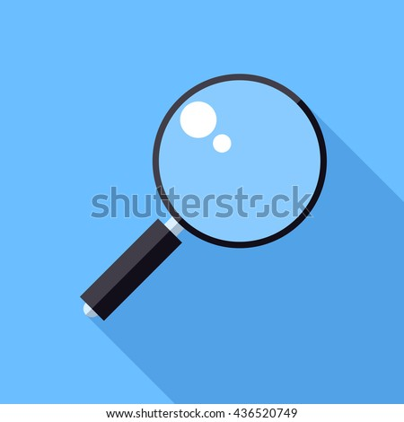 Magnifier icon. Flat Design vector icon. Magnifying glass on blue background - stock vector
