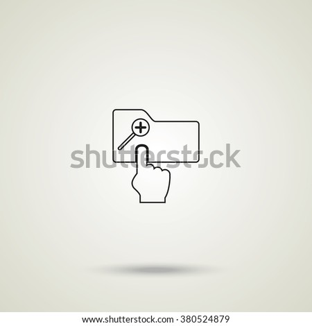 Magnifier icon with plus sign. Folder zoom in.