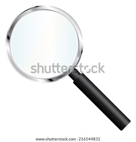 Magnifier tool with transparent glass. Vector icon.  - stock vector