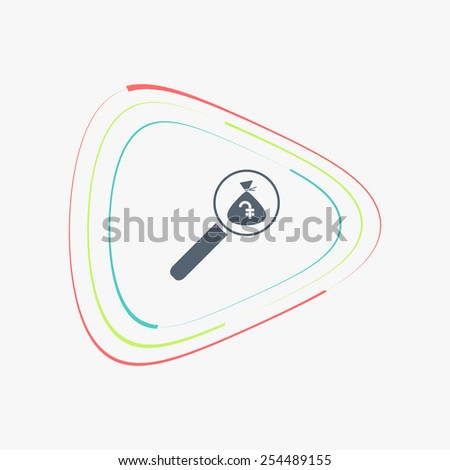 Magnifier with money bag icon. Armenian Dram currency symbol. Flat design style.  - stock vector