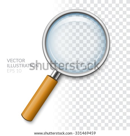 Magnifier with transparent glass. Realistic vector illustration - stock vector