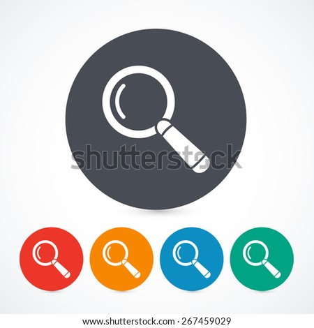 Magnify glass icons isolated on with background. Circle buttons. 5 different colors. - stock vector