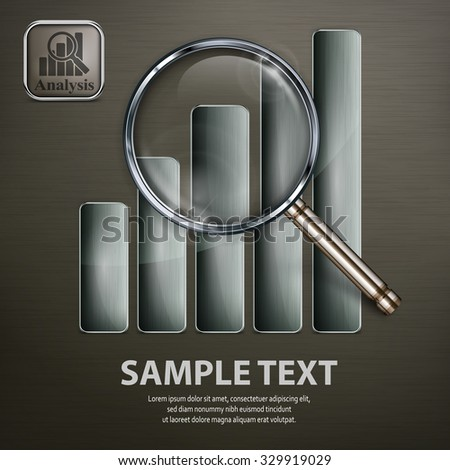 Magnifying glass and chart, analyzing graphic on black, vector illustration - stock vector