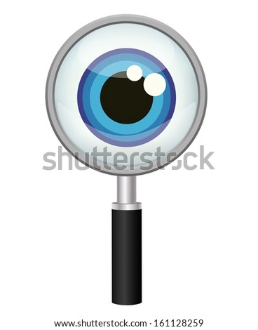 magnifying glass and eye, vector icon  - stock vector