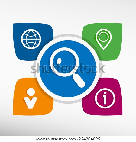 Magnifying glass and icons set vector illustration. Modern Flat style  - stock vector