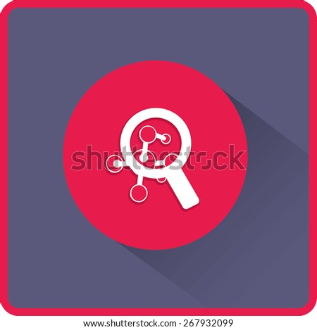 Magnifying glass and molecule. Flat icon. Vector illustration - stock vector